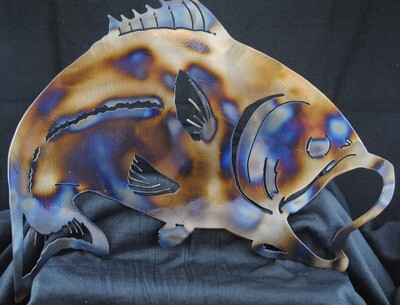 Open Mouth Bass style 1, Metal Wall Art, Metal Magnet