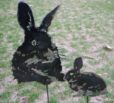Rabbit Head Metal Garden Stake and Rabbit Metal Garden Stake