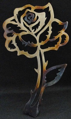 Rose on Stem Metal Wall Art