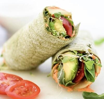 Roasted Rainbow Hummus Wrap