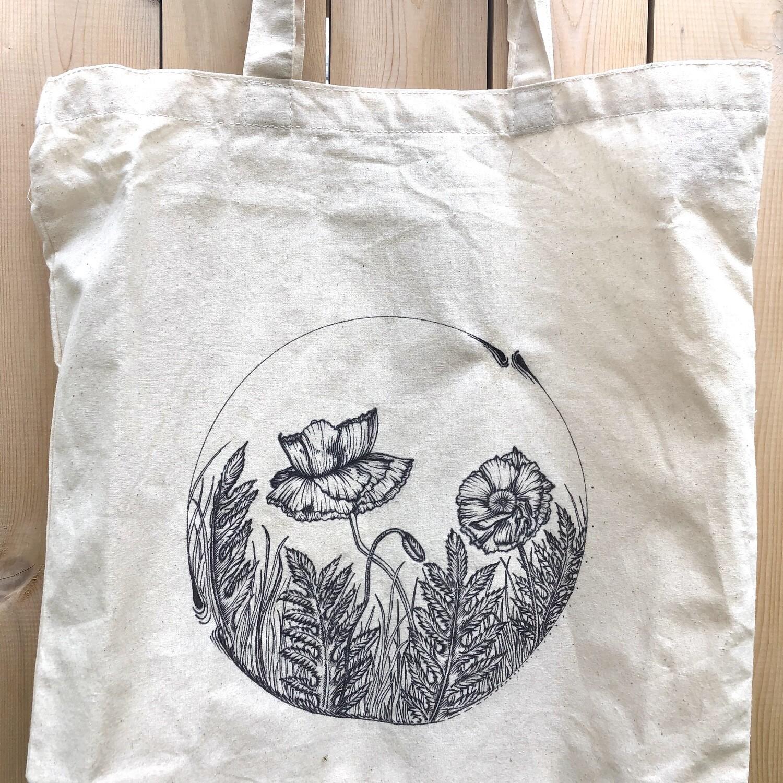 Custom Hand Drawn Botanical Tote Bag