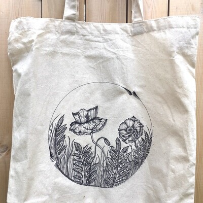 Custom Hand Drawn Botanical Tote Bag