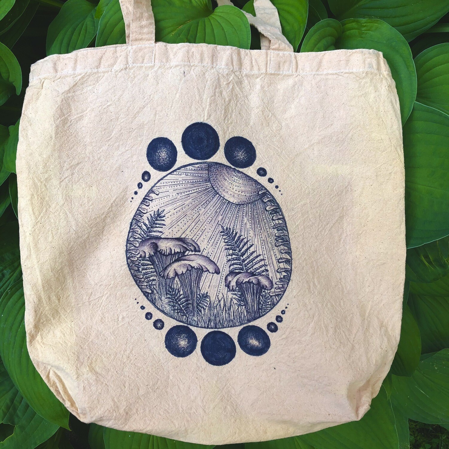 Hand Drawn, Hand Dyed Chanterelle Tote Bag