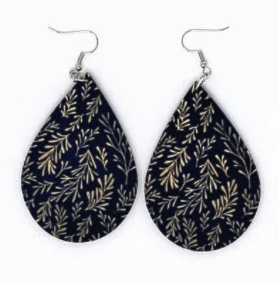 Dark Blue Teardrop Earrings with Accents