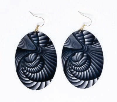 Oval Metal Earrings Swirl Design