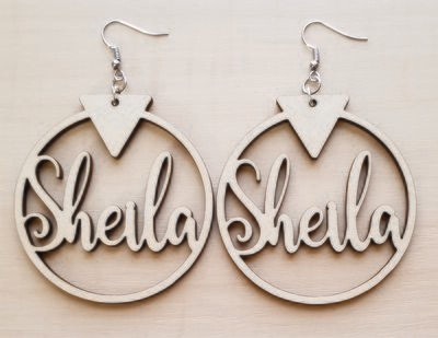 Wood Earrings Personalized