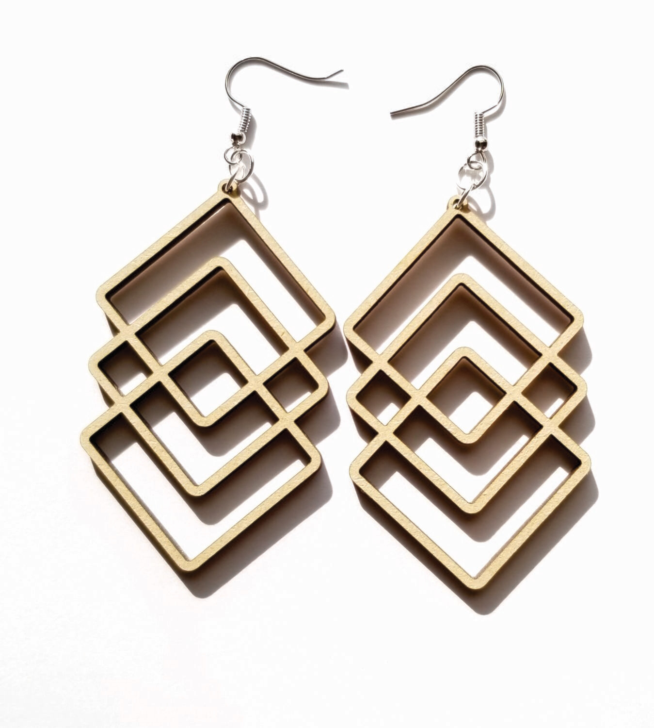 Geo Triangle Wood Earrings