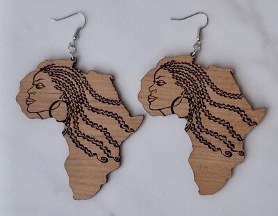 Africa Shape Earrings With Ethnic Woman