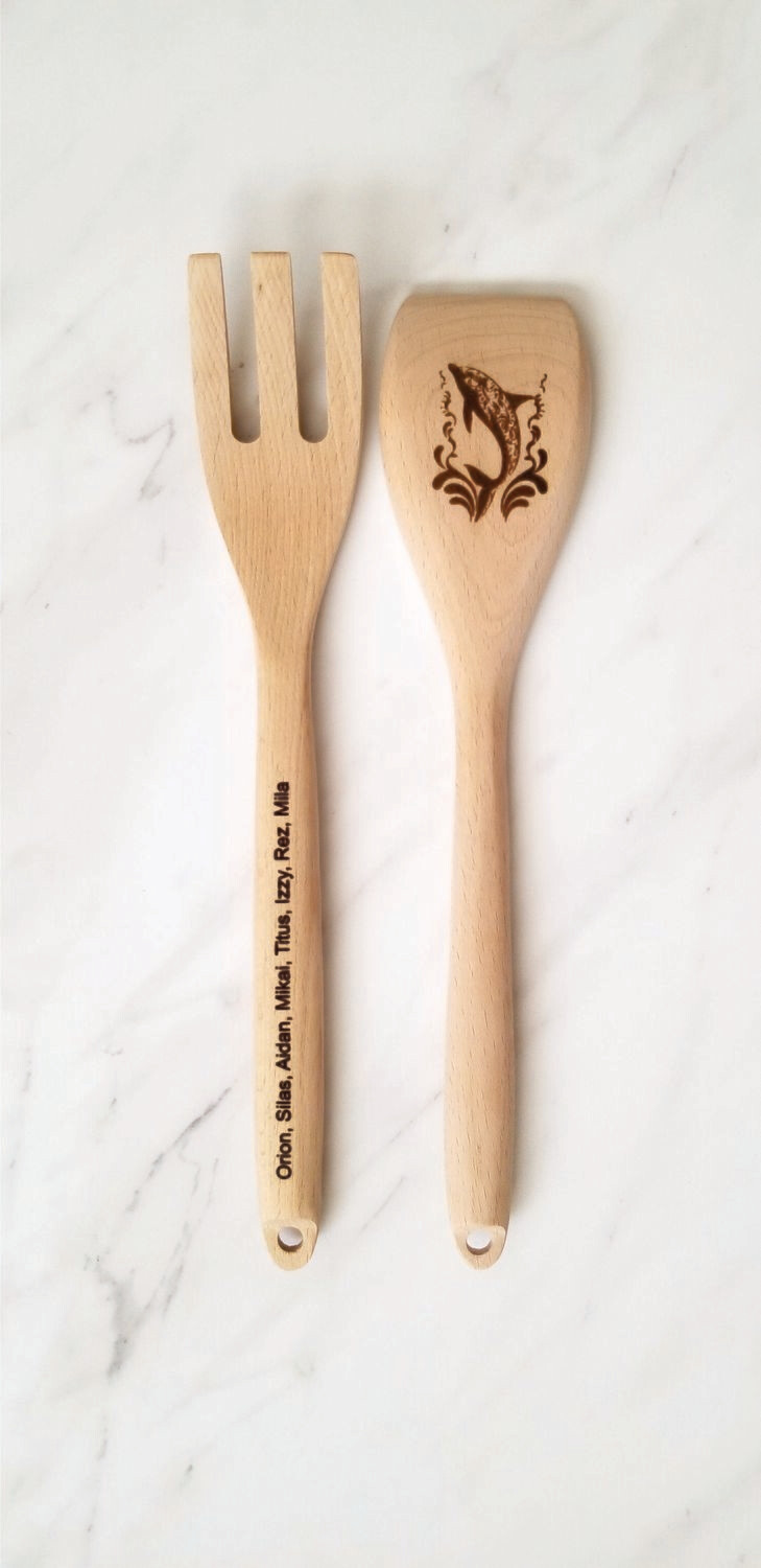 Laser Engraved Wooden Spoon Set