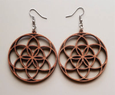 Round Geo Design Wooden Earrings