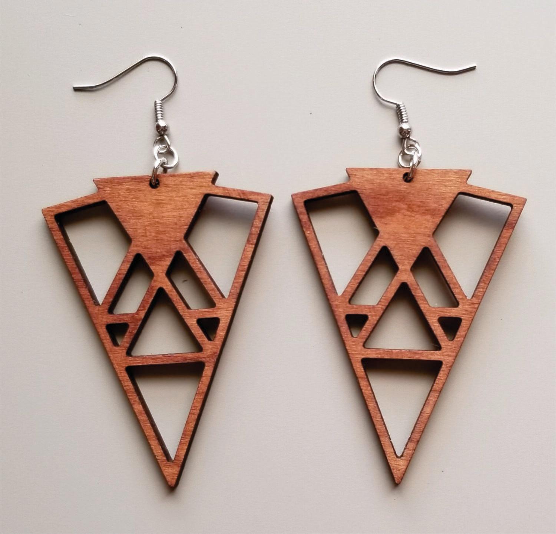 Triangle Geo Wood Earrings