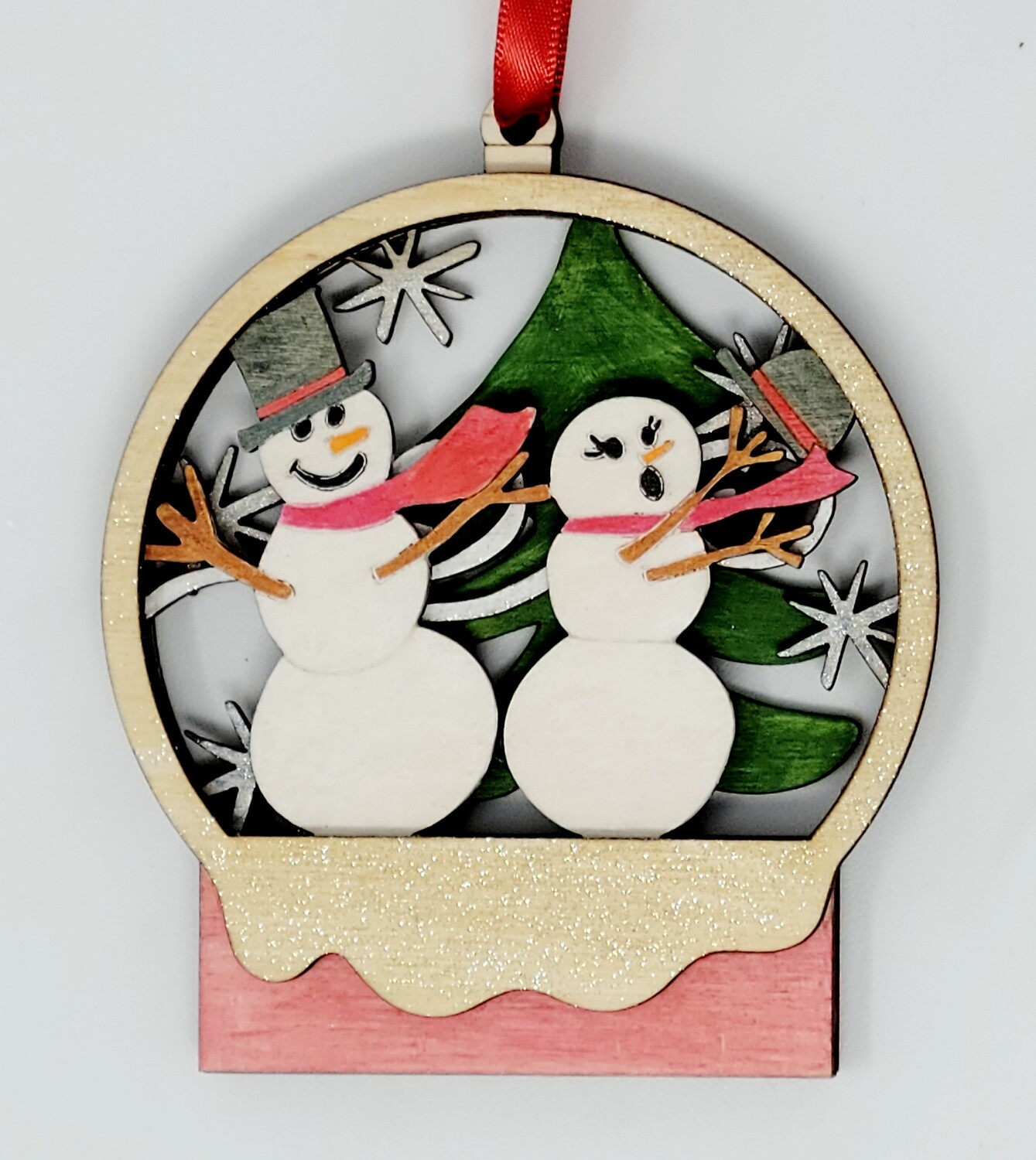 Snow Family Wood Ornaments