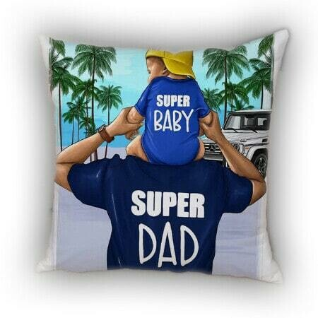 Kissenhülle mit Super Dad & Super Baby Print 💙