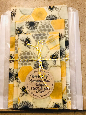 Beeswax Food Wraps (Yellow Hex Bees)