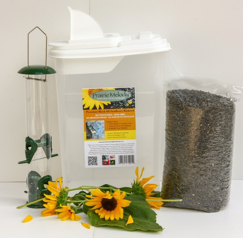 Deluxe Gift Set - 5 lb Prairie Melody, Tube Feeder with Metal Ports, 16 qt. Pour Spout Container