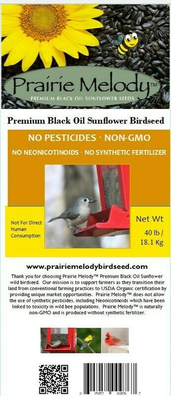 Pesticide Free - Black Oil Sunflower Birdseed - Bulk 40 lb Bag