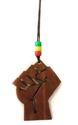Wooden Raised Fist Necklace