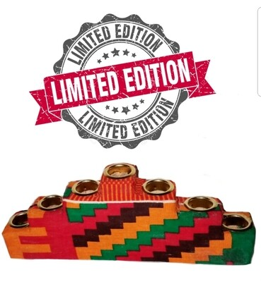Limited Edition-Kwanzaa Kente Kinara Candle Holder with Gold Finish