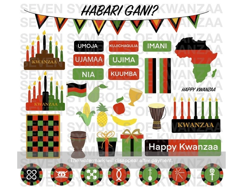 Kwanzaa Clipart 39-Piece Set- INSTANT DIGITAL DOWNLOAD