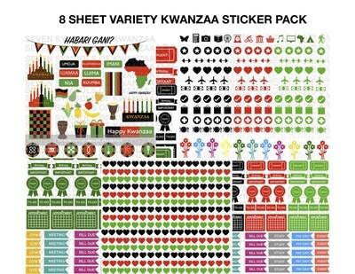 8-Sheet Variety Kwanzaa Peel-It & Planner Sticker Pack