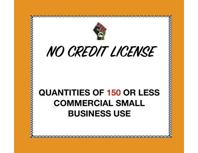 No Credit License for Quantities of 150 or Less (Commercial Use) for 1 Clipart or Digital Paper Set