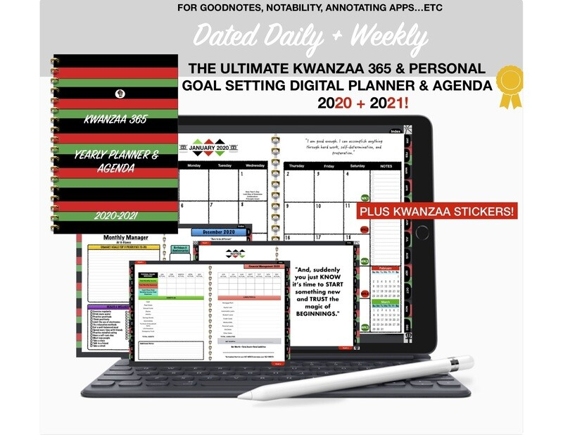 Digital Planner Goodnotes, Kwanzaa 365 Personal Goal Setting, IPAD Planner, Daily Planner, African Hyperlinked Dated Daily & Weekly Planner