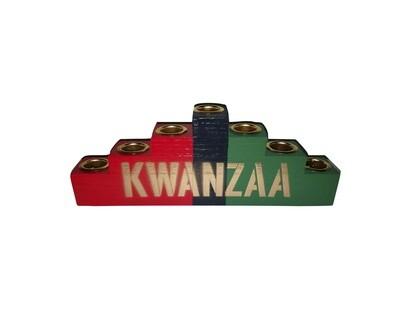 """Kwanzaa"" Kinara -Colors of Africa Wooden Kinara with Gold Finish"