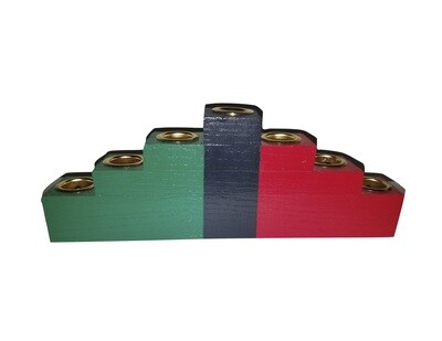 Kwanzaa Kinara -Colors of Africa Wooden Kinara with Gold Finish