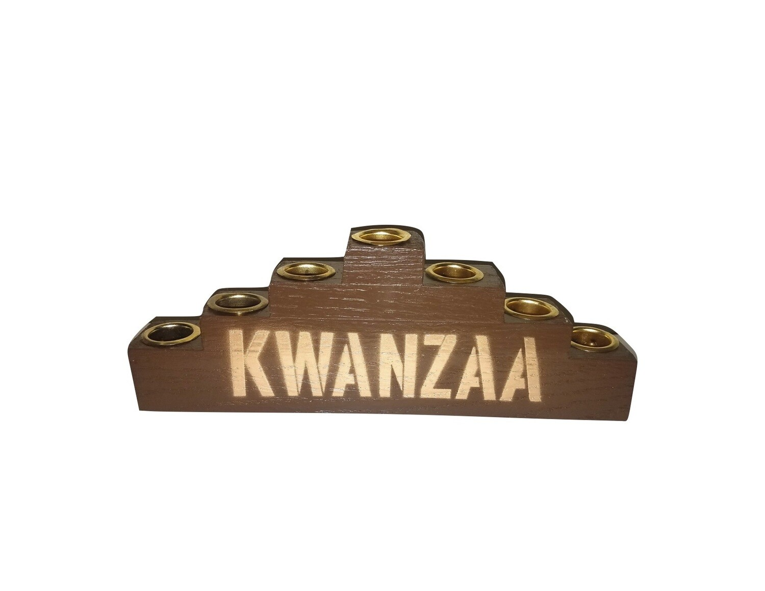 """Kwanzaa""  Kinara - Traditional Brown Wooden Kinara with Gold Finish"