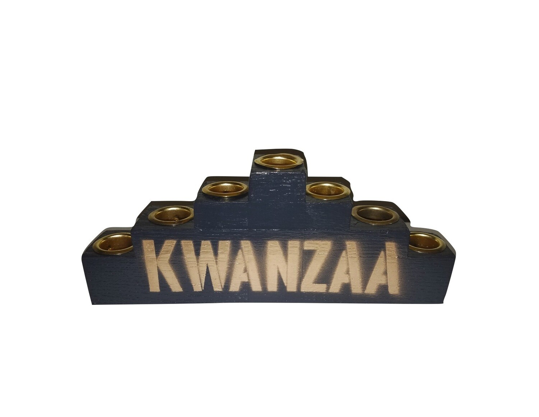 """""""Kwanzaa"""" Kinara -Black Wooden Kinara with Gold Finish"""