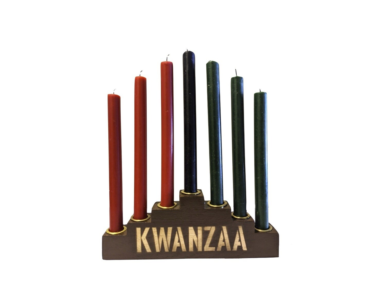 """Kwanzaa""  Kinara Set with Mishumaa Saba Candles - Traditional Brown Wooden Kinara with Gold Finish"