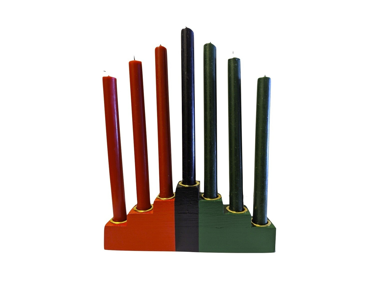 Kwanzaa Kinara Set with Mishumaa Saba Candles -Colors of Africa Wooden Kinara with Gold Finish (8-Piece)