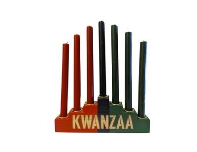 """Kwanzaa"" Kinara Set with Mishumaa Saba Candles -Colors of Africa Wooden Kinara with Gold Finish"
