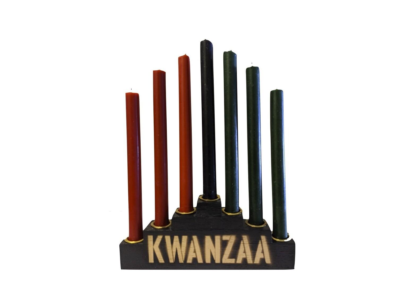 Kwanzaa Kinara Set with Mishumaa Saba Candles -Black Wooden Kinara with Gold Finish