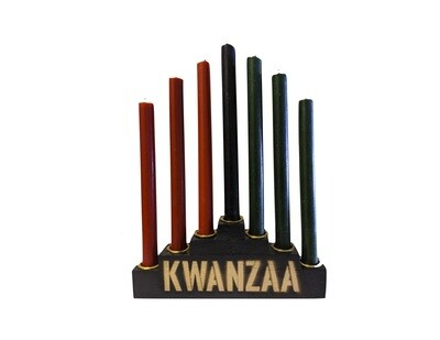 Kwanzaa Kinara Set with Mishumaa Saba Candles -Black Wooden Kinara with Gold Finish