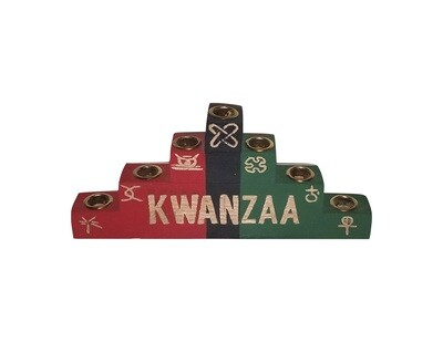 Kwanzaa Kinara -Seven Symbols Colors of Africa Wooden Kinara with Gold Finish