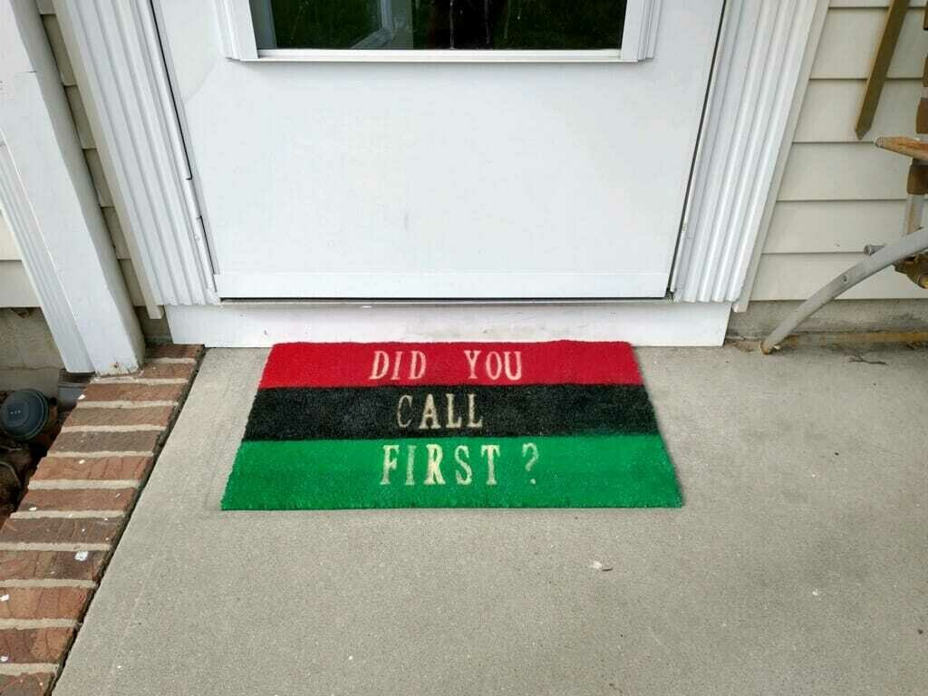 "Pan African UNIA Flag ""Did You Call First? Doormat"