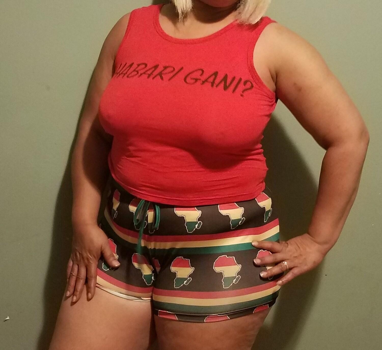 "Unisex ""Habari Gani"" Color of Africa (2-Piece) Short Sleeve Vest & Shorts Casual Wear,  Pajama Wear"