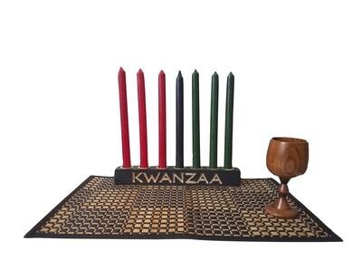 """Kwanzaa Kinara -Hand carved """"Kwanzaa"""" Kinara Celebration Set -Black with Gold Finish"""