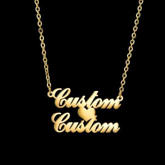 Custom Name Necklace 1 + 1 Heart