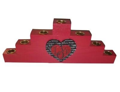 Kwanzaa Kinara -Black Love Red Wooden Kinara with Gold Finish LIMITED EDITION