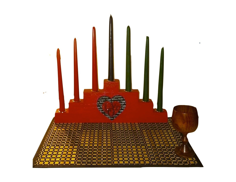LIMITED EDITION -BLACK LOVE RED Kwanzaa Kinara Celebration Set with Gold Finish