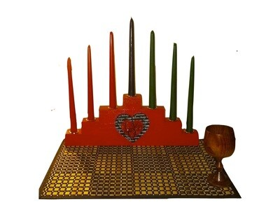 LIMITED EDITION -BLACK LOVE RED Kwanzaa Kinara Celebration Set with Gold Finish