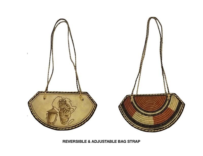 Reversible African Leather Bag- Adjustable Strap Purse