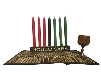 "NGUZO SABA-  ""Kwanzaa"" Kinara Celebration Set -Straight Black with Gold Finish"