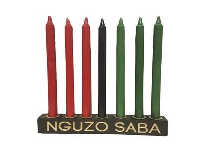 "NGUZO SABA -  ""Kwanzaa"" Kinara -Straight Black with Gold Finish & Traditional 7 Mishumaa Saba Candles"