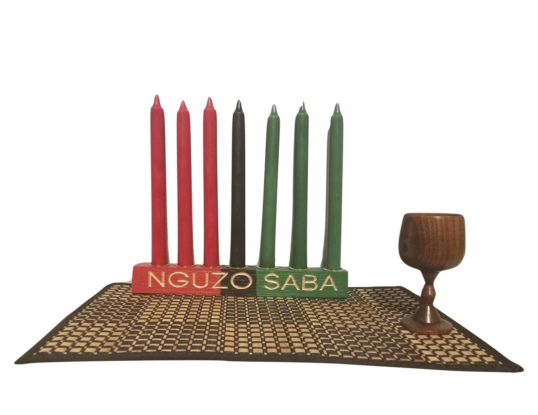 "NGUZO SABA-  ""Kwanzaa"" Kinara Celebration Set -Straight Colors of Africa with Gold Finish"