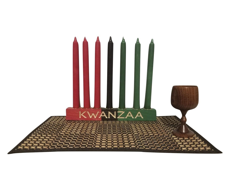 "Kwanzaa Kinara -Hand carved ""Kwanzaa"" Kinara Celebration Set -Colors of Africa with Gold Finish"