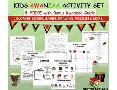 Kids Kwanzaa Coloring, Crossword, Word Search, Maze Games, Activity Set with BONUS Kwanzaa Guide- Kwanzaa, Printables, Kids-INSTANT DOWNLOAD