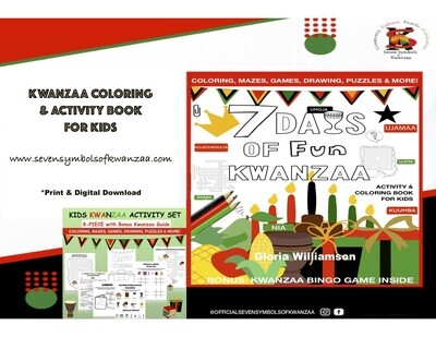 """7 Days of Fun: Kwanzaa Kids Activity and Coloring Book for Kids""""-PaperBack +Digital Unlimited"""